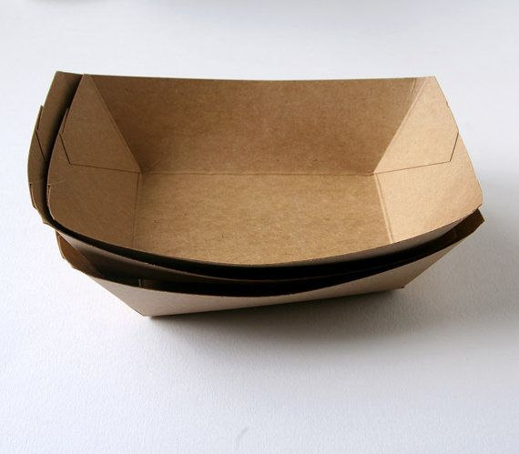 50 Kraft Paper Food Tray / Kraft Food Boat by sweetestelle on Etsy