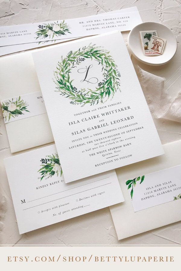 Greenery Wedding Invitations Rustic Elegant Watercolor Fl Gardens Fall Brides Beautiful Green Color Palettes Boho