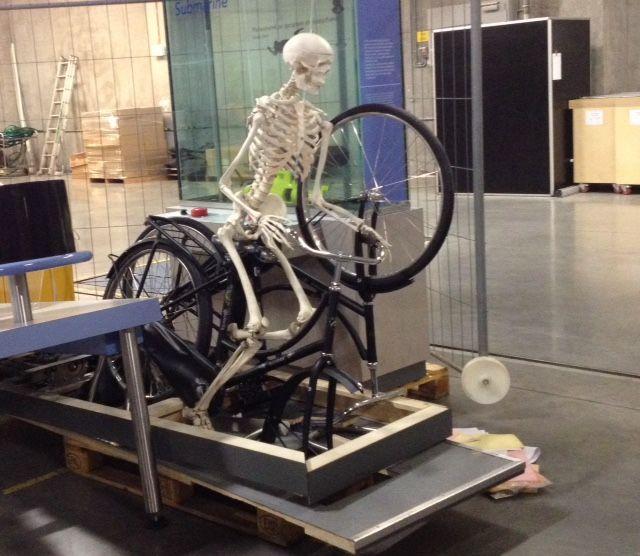 """Część eksponatu """"Pedałujący szkielet"""" - chwilowo odpoczywa w podziemiach centrum / Part of the exhibit """"Pedaling of the skeleton"""" - temporarily rests in the basement of the center"""