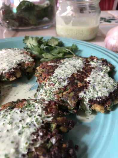 Swiss Chard and Quinoa Patties With Cilantro Yogurt Sauce, Vegetarian from MyBajaKitchen.com