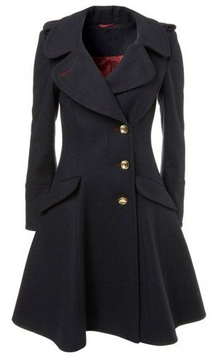 "I love everything about the ""Bandstand Coat"" from Topshop in 2008. Fit and flair, longer length, beautiful collar, open neckline to allow for scarves, navy color. Perfect."