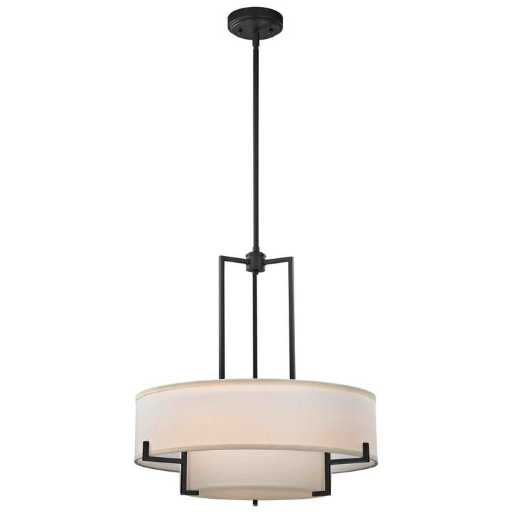 Drum Pendant Light with White Glass in Bronze Finish at Destination Lighting
