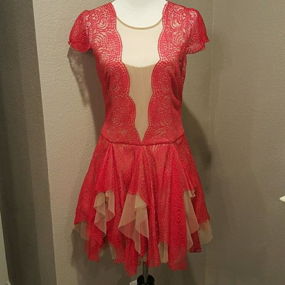 Red Lace Sheer Nude Cocktail Dress 10 In excellent condition! Size 10 BCBGMaxAzria Dresses