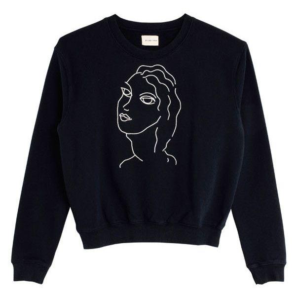 Paloma Wool Navy Guiri Sweatshirt (6230 DZD) ❤ liked on Polyvore featuring tops, hoodies, sweatshirts, embroidered sweatshirts, blue sweatshirt, embroidered top, navy blue sweatshirt and navy top