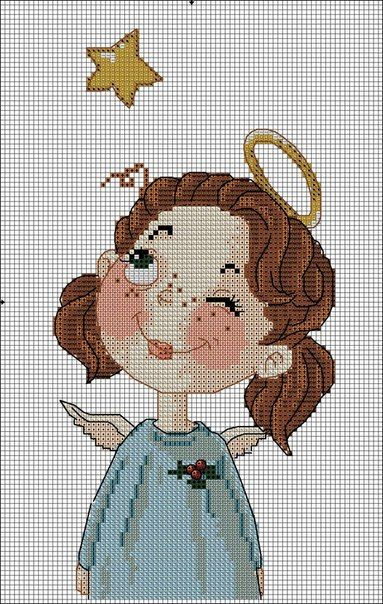 angelito en punto de cruz
