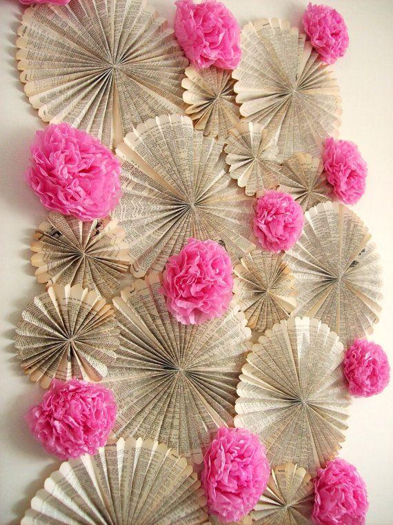 perfect decorations for a dessert bar back drop.  Fan flowers & pom flowers!