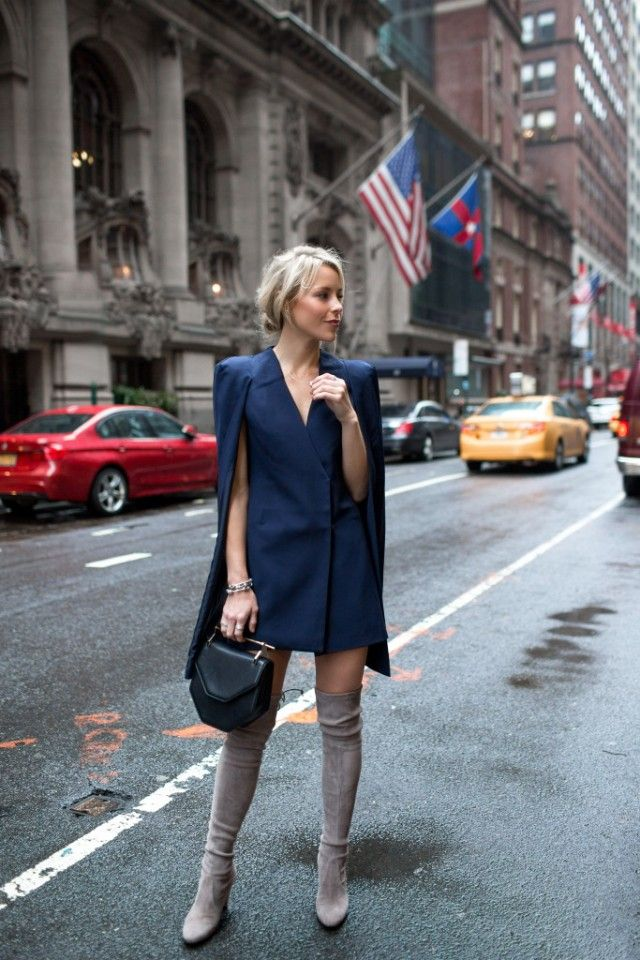 Wearing thigh high boots with a blazer dress like this one will afford you a sophisticated and glamorous look which is perfect for work or leisure! Via Mary Seng. Blazer: Nordstrom, Boots: Stuart Weitzman.