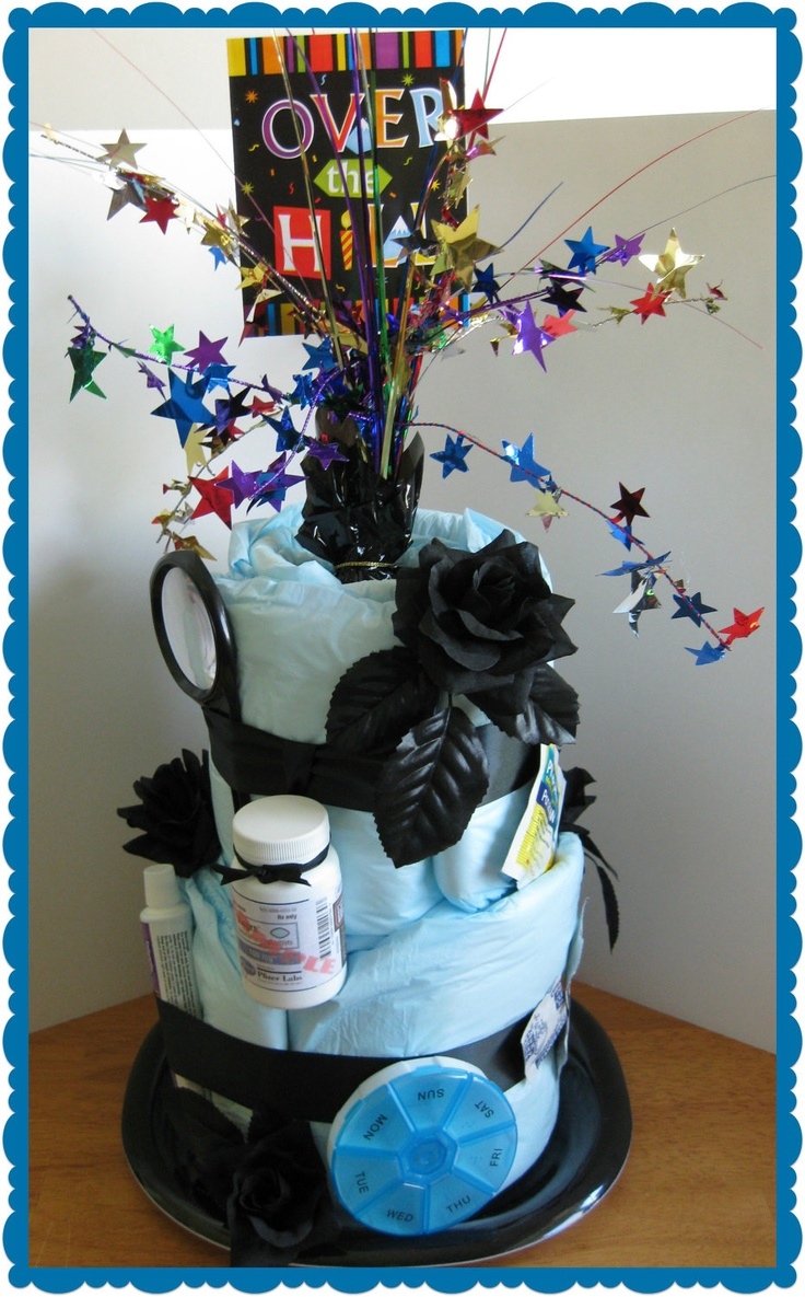 Over the Hill - Gag Gift - Birthday - Diaper Cake for adult - 50th Birthday - 40th Birthday - 2 tier. $30.00, via Etsy.