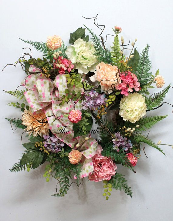 Lg. Country Garden Wreath, Summer Wreath, Spring Wreath, Large Everyday  Wreath,