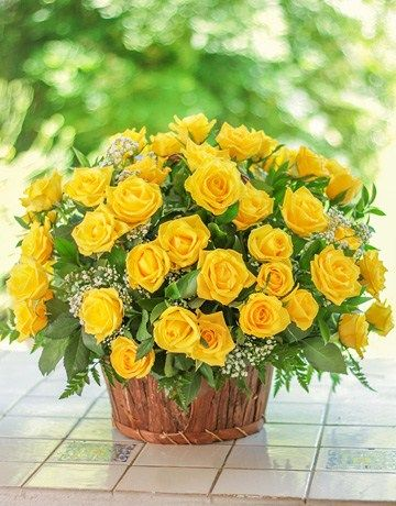 Woven Basket of Yellow Roses
