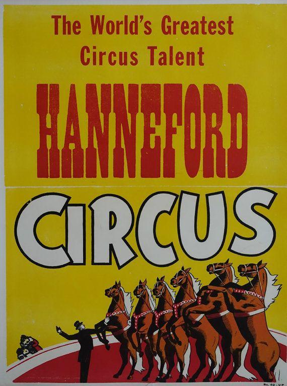 1950s Hanneford Circus Poster II  Original by OutofCopenhagen