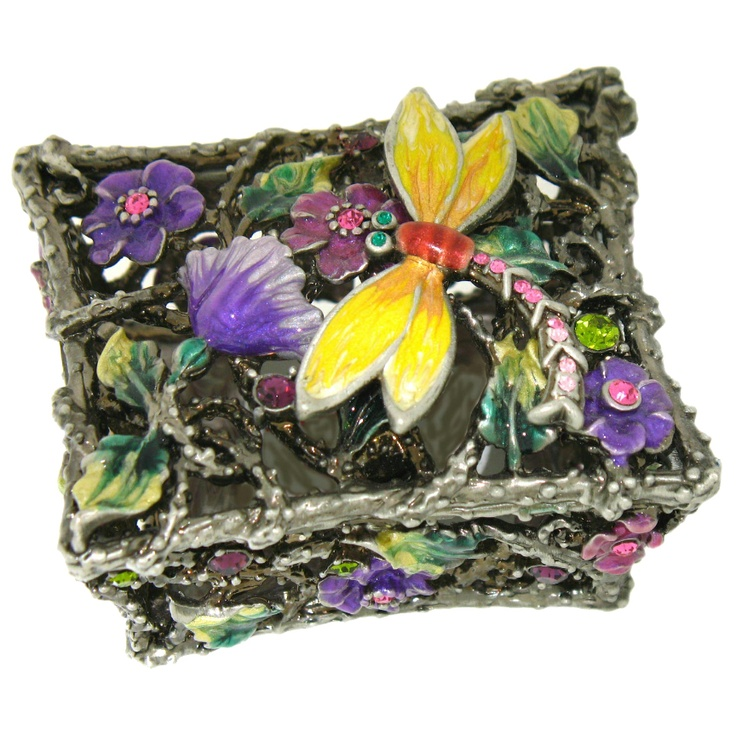Yellow Purple Green 3D Dragonfly Box