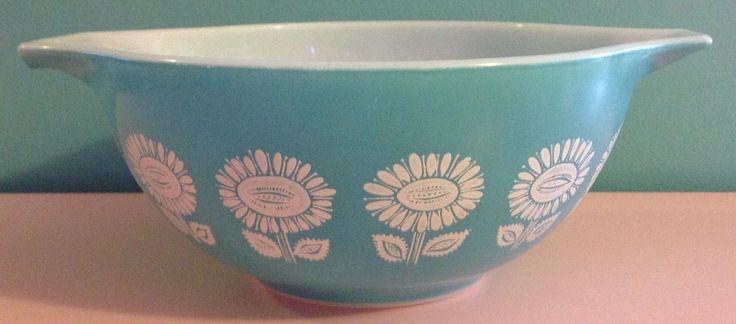 RARE Sunflower Pyrex Bowl Dish Turquoise Aqua 442 1 1 2 Quart Flower Unknown | eBay