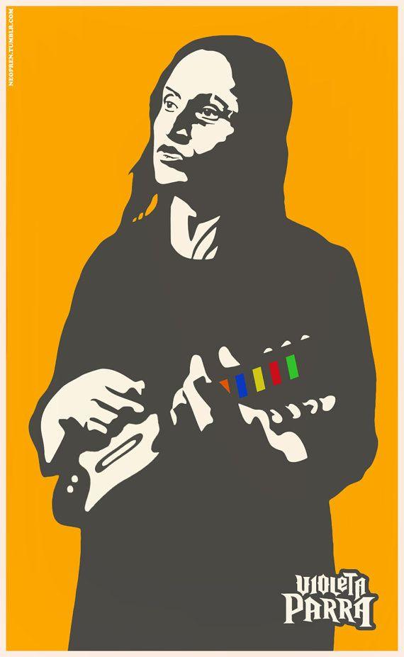 VIOLETA PARRA POSTER on A3 in full color by NEOPREN on Etsy, €13.00 Original art by Sasha Laskowsky-Ziguilinsky
