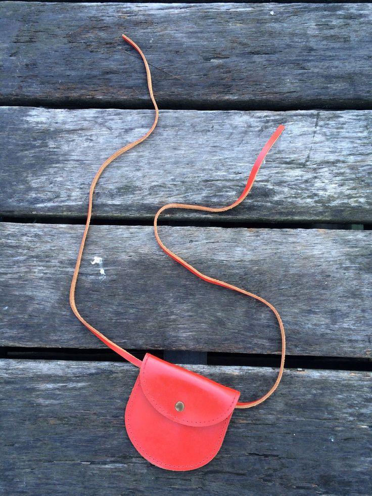 Genuine Leather Red Hip-Purse-Belt