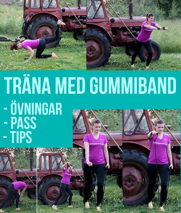 Massor tips och övningar för träning med gummiband. Gummibandspass, styrkeövningar med gummiband och beskrivande bilder. Prova enkla övningar med gummiband!