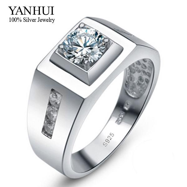[Visit to Buy] YANHUI 100% 925 Sterling Silver Men Ring With S925 Stamp 0.75ct CZ Diamant Wedding Ring For Men Ring Size 6 7 8 9 10 11 12 YR019 #Advertisement