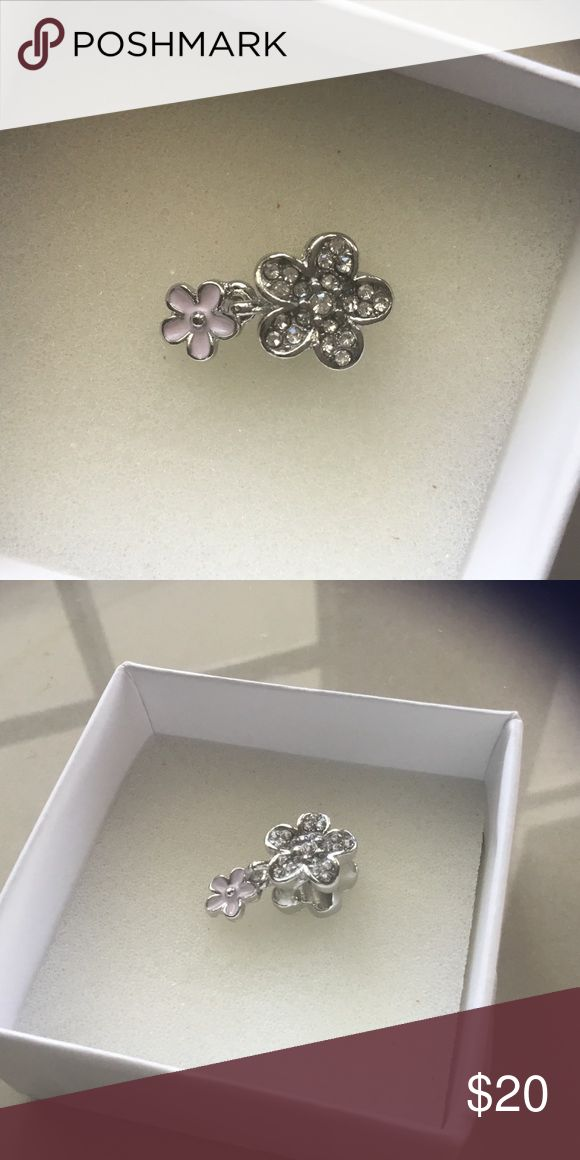 Diamond Flower Charm Diamond Flower Charm, fits Pandora Jewelry Bracelets