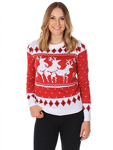 "Women's Ugly Christmas Sweater ""The Menage A Trois Reindeer"" - http://www.christmasshack.com/ugly-christmas-sweaters/womens-ugly-christmas-sweater-the-menage-a-trois-reindeer/"