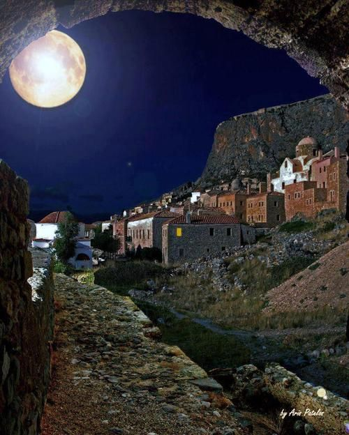 The Medieval Town of Monemvasia under Full Moon,Greece