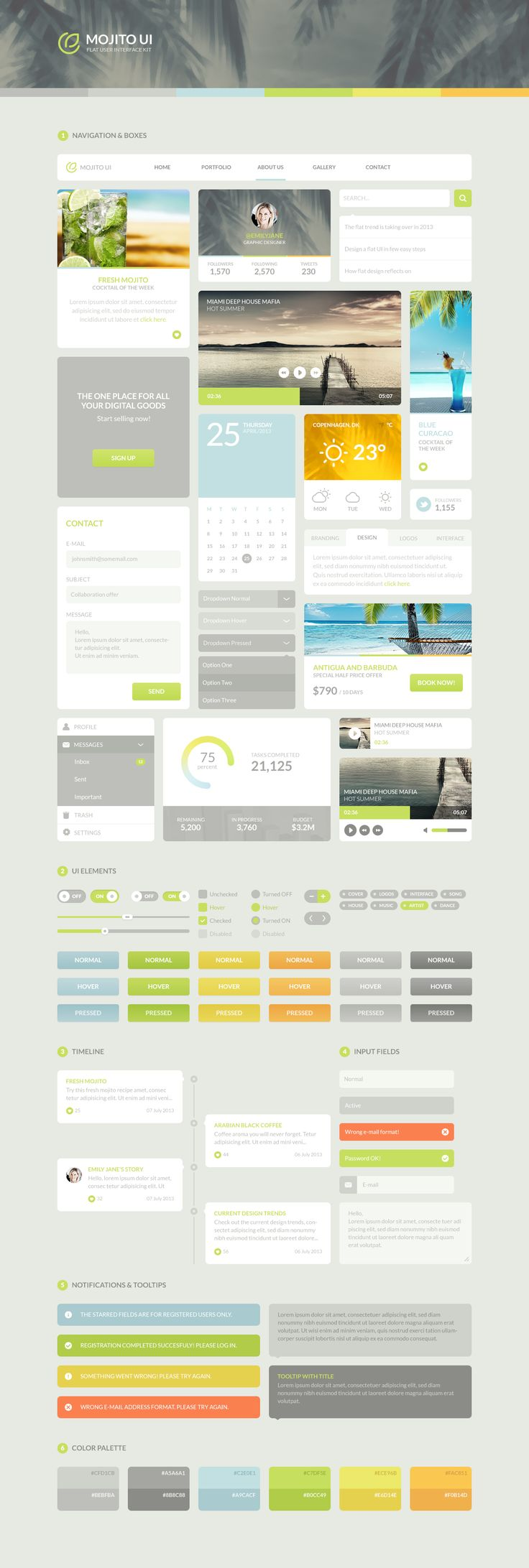 Mojito UI, flat user interface kit by Vlade Dimovski