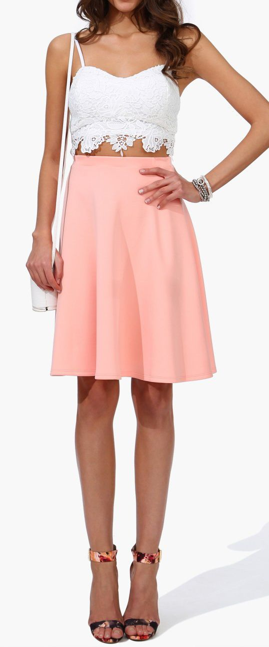 Lace top + skater skirt