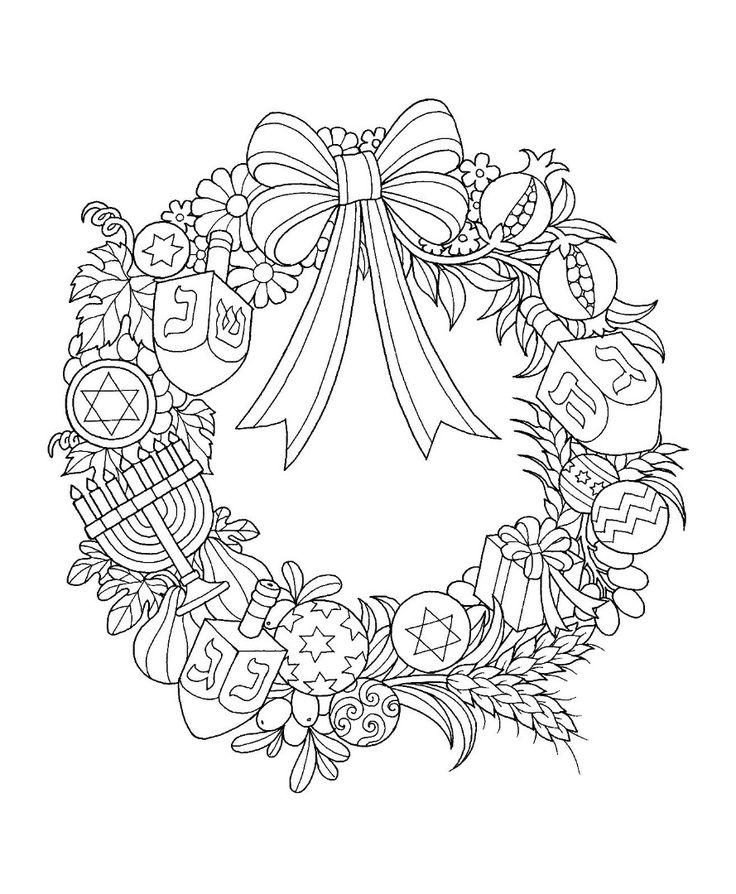 Hanukkah Wreath Coloring Page Coloring pages