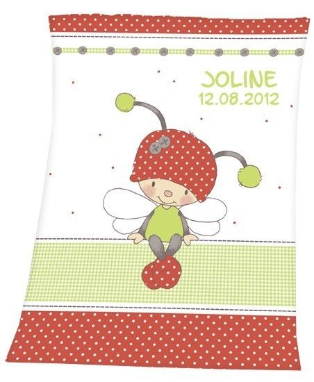 Personalised Baby Blanket with name date 75x100cm from wolimbo by DaWanda.com
