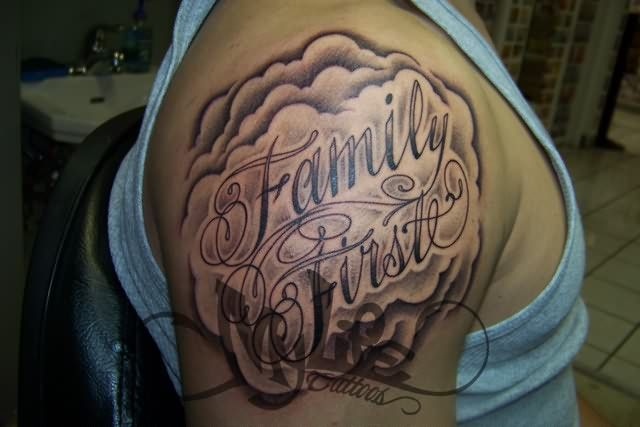 shoulder tattoo designs | Family First Tattoo On Shoulder