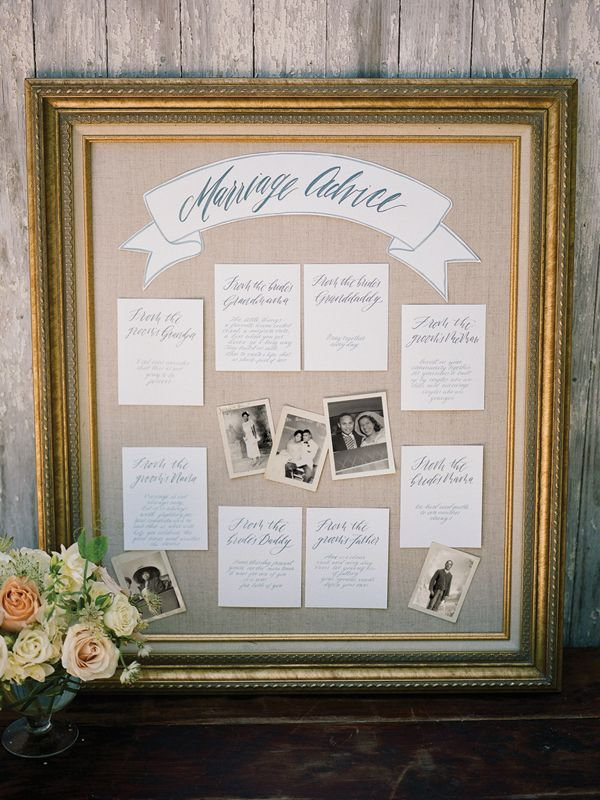 marriage advice board at a wedding | Davy Whitener