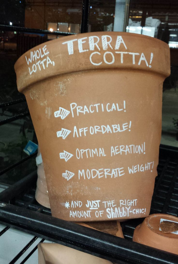 One of my newest employees has hit the ground running.....broken terra cotta as signage.