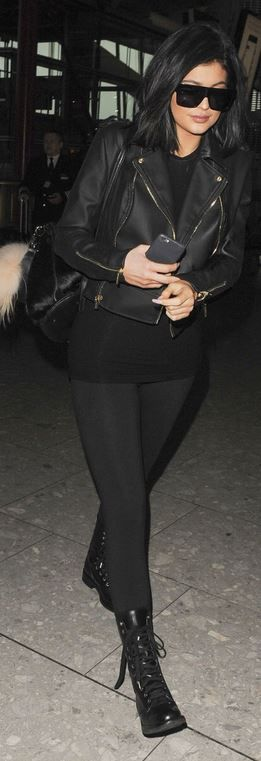 Kylie Jenner: sunglasses – Céline  Jacket – House of CB  Purse – Elizabeth and James  Key chain – Fendi