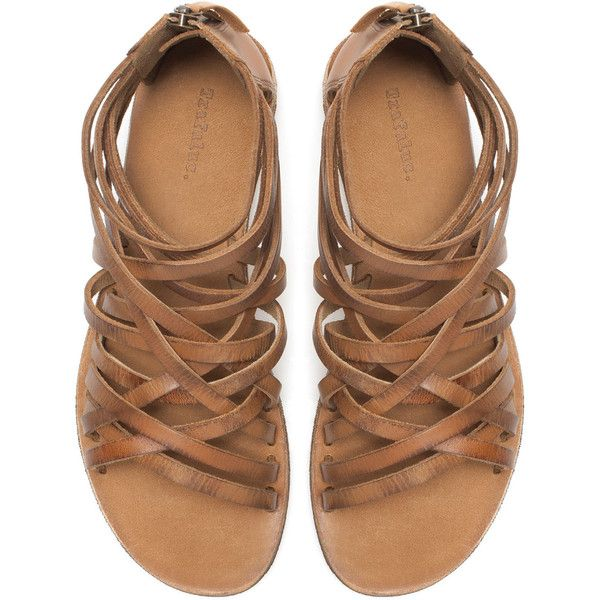 Zara Strappy Flat Sandals ($30) ❤ liked on Polyvore featuring shoes, sandals, flats, footwear, leather, leather flats, zara flats, t-strap flats, strappy flats and leather sandals