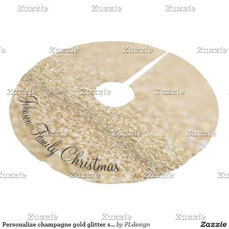 Personalize Beautiful champagne gold glitter sparkles Christmas tree skirt by #PLdesign #sparkles #GoldSparkles #SparklesGift