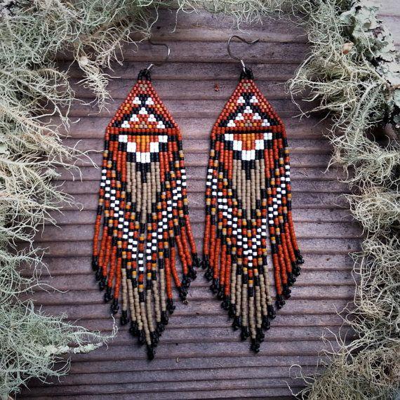 Sycamore..Beaded Fringe Earrings Native American door hoofandarrow