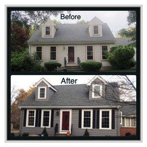 Vinyl Siding in Charcoal Grey - Black Shutters - Maroon door-Grey Roof: exterior inspiration