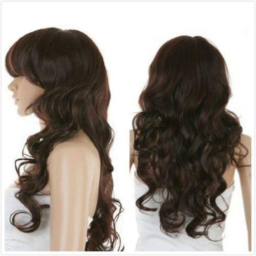 Кк 004456 Сексуальные Женщины Длинные Волнистые Волосы Темно-Коричневый Жаропрочных Полный Косплей Парики