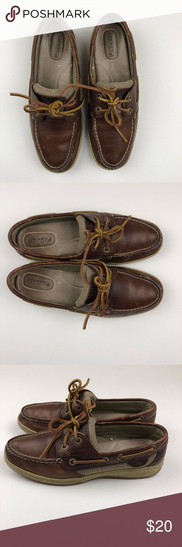 Sperry Top-Sider 2-eyelit Brown Leather Boat shoes Sperry Topsider 2-eyelit boat shoes. GUC Sperry Top-Sider Shoes