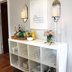 Live Creating Yourself - dining rooms - gray walls, gray paint, gray paint colors, ike bar, ikea expedit, expedit shelving unit, white expedit, mirrored sconces, , West Elm Sconce, Ikea Expedit Bookcase,