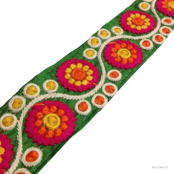 Cutch Embroidery Border in Neon Colors - Raw Silk Wide Border / Lace /  Embroidered Trim /  Sari Lace