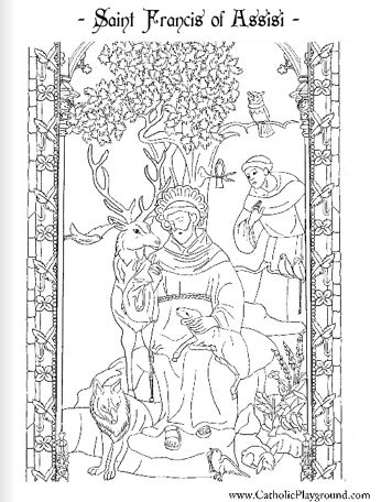Saint Francis of Assisi Catholic coloring page