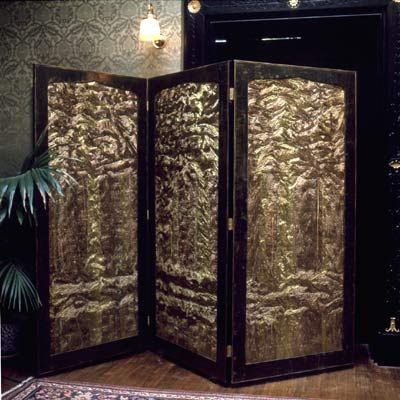 Victorian screen recovered in hand pleated silk depicting trees and fluid reflections by Charles and Patricia Lester