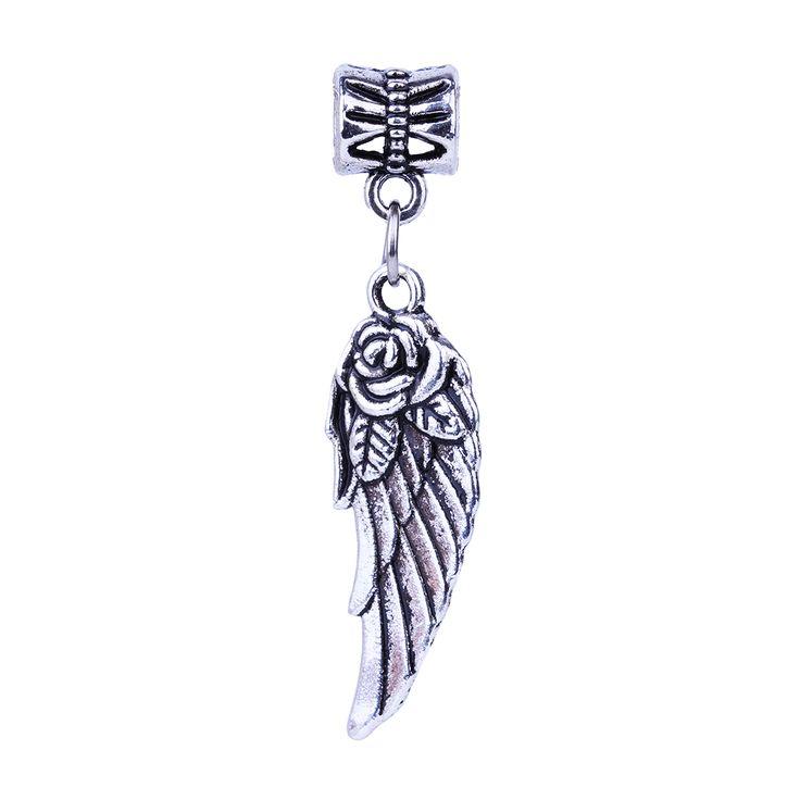 1Pc Free Shipping Fashion European Silver Flower Wing Charms Pendant Bead Silver Beads Charm DIY Fit Pandora Bracelet & Bangles