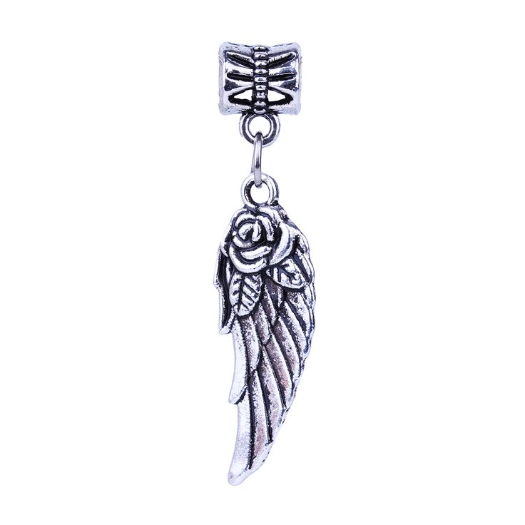 1Pc Free Shipping Fashion European Silver Flower Wing Charms Pendant Bead Silver Beads Charm DIY Fit Pandora Bracelet & Bangles