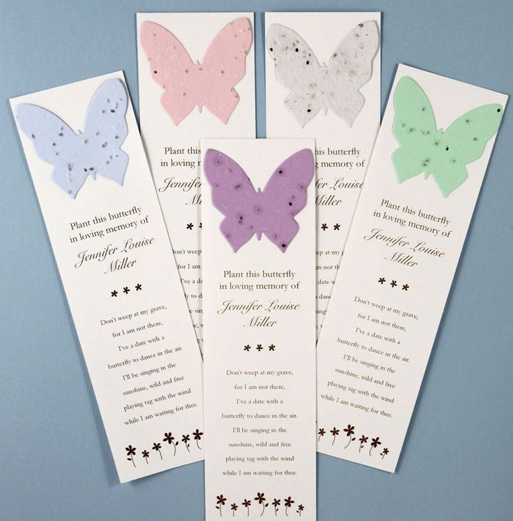 Forget me not flowers will grow when the butterfly from from these bookmarks are planted. Perfect for the person who loved to garden and read. $1.65 when 100 are purchased. #funeralgift, #butterflyseedbookmarks, #memorialbookmarks