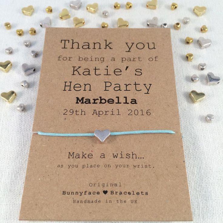 Hen Party Wish Bracelet Friendship Band Charm Card Gift Keepsake Friend Bride In Jewellery