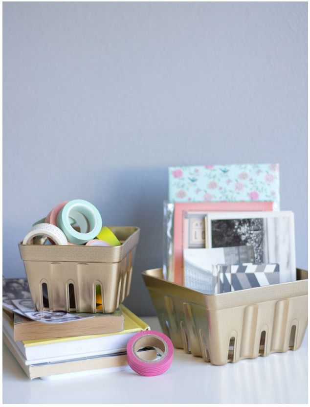 spray painted berry baskets for storage