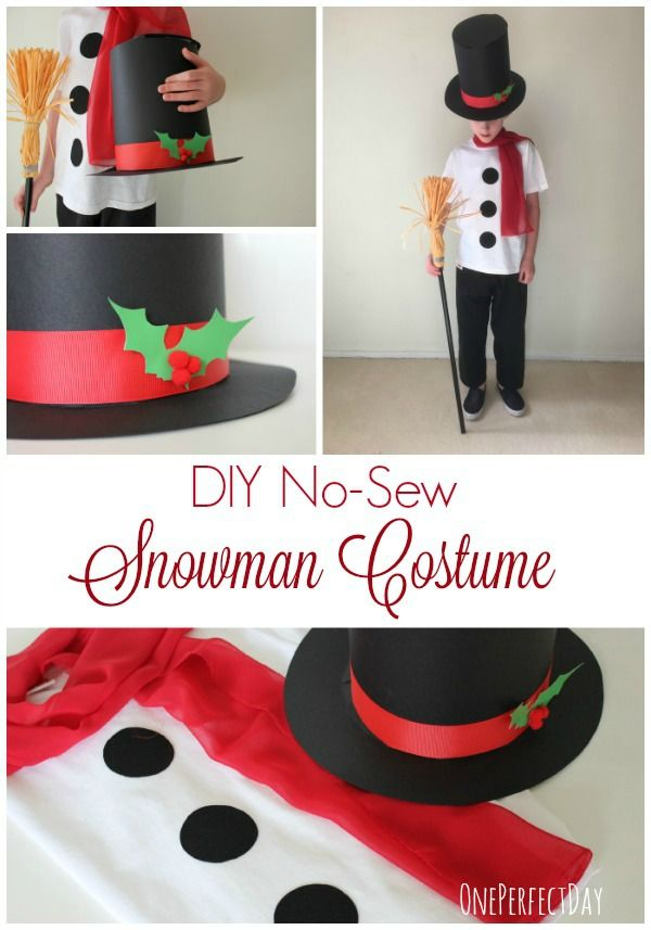 No-Sew Snowman Costume for Kids - awesome! Love this simple snowman costume! Would be perfect for school play!