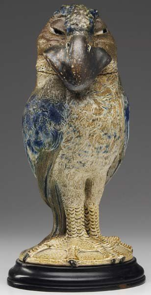 """Martin Brothers Pottery - Robert Wallace Martin (1843-1923) - Wally Bird Covered Tobacco Jar. Painted & Glazed Stoneware. Southall, Middlesex, England. Circa 1897. 11-1/2"""" x 5""""."""