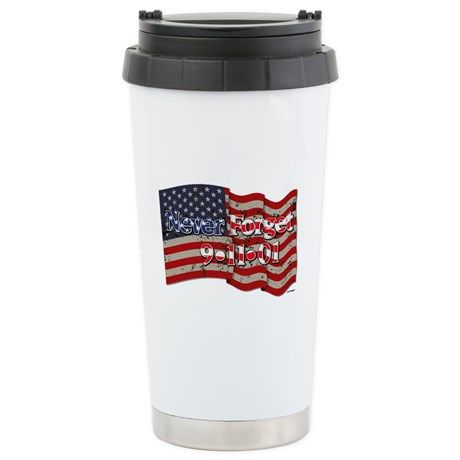 911 Never Forget Americ Travel Mug    •   This design is available on t-shirts, hats, mugs, buttons, key chains and much more   •   Please check out our others designs at: www.cafepress.com/ZuzusFunHouse